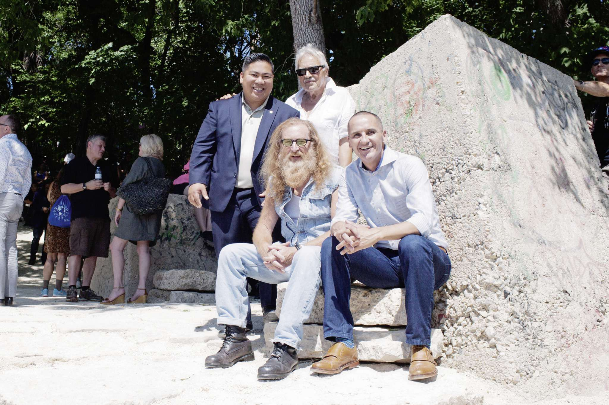 MLA Kevin Chief (front right) with Jordan Van Sewell (front left), city councillor Mike Pagtakhan (back left) and Louis Bako.