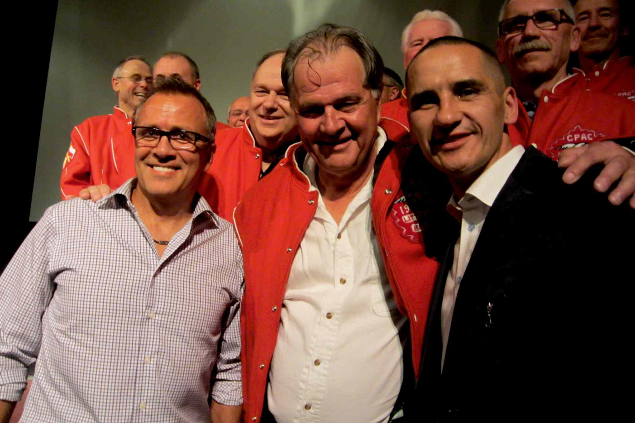 Kevin Chief, MLA for Point Douglas, at the public screening of Behind in the Count with members of the 1965 Western Canadian Little League Championship team from Winnipeg's North End.