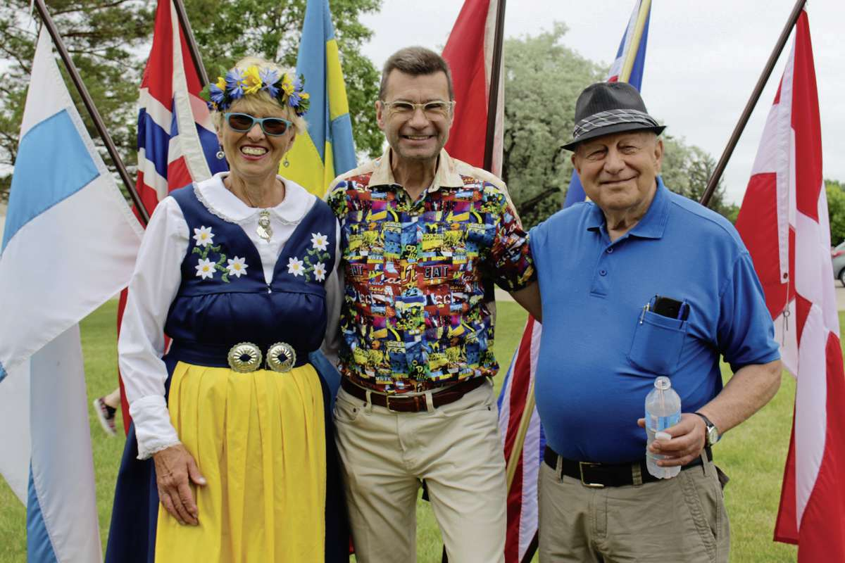 MP Doug Eyolfson with community members at the Midsommar celebration at the Swedish Canadian Home.