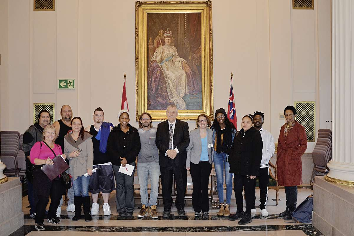 On Oct. 3 MLA Jim Maloway gave greetings and visited with Horizons Learning Centre's Tara Debreuil and her students and staff at Room 200 Manitoba Legislature during their tour.
