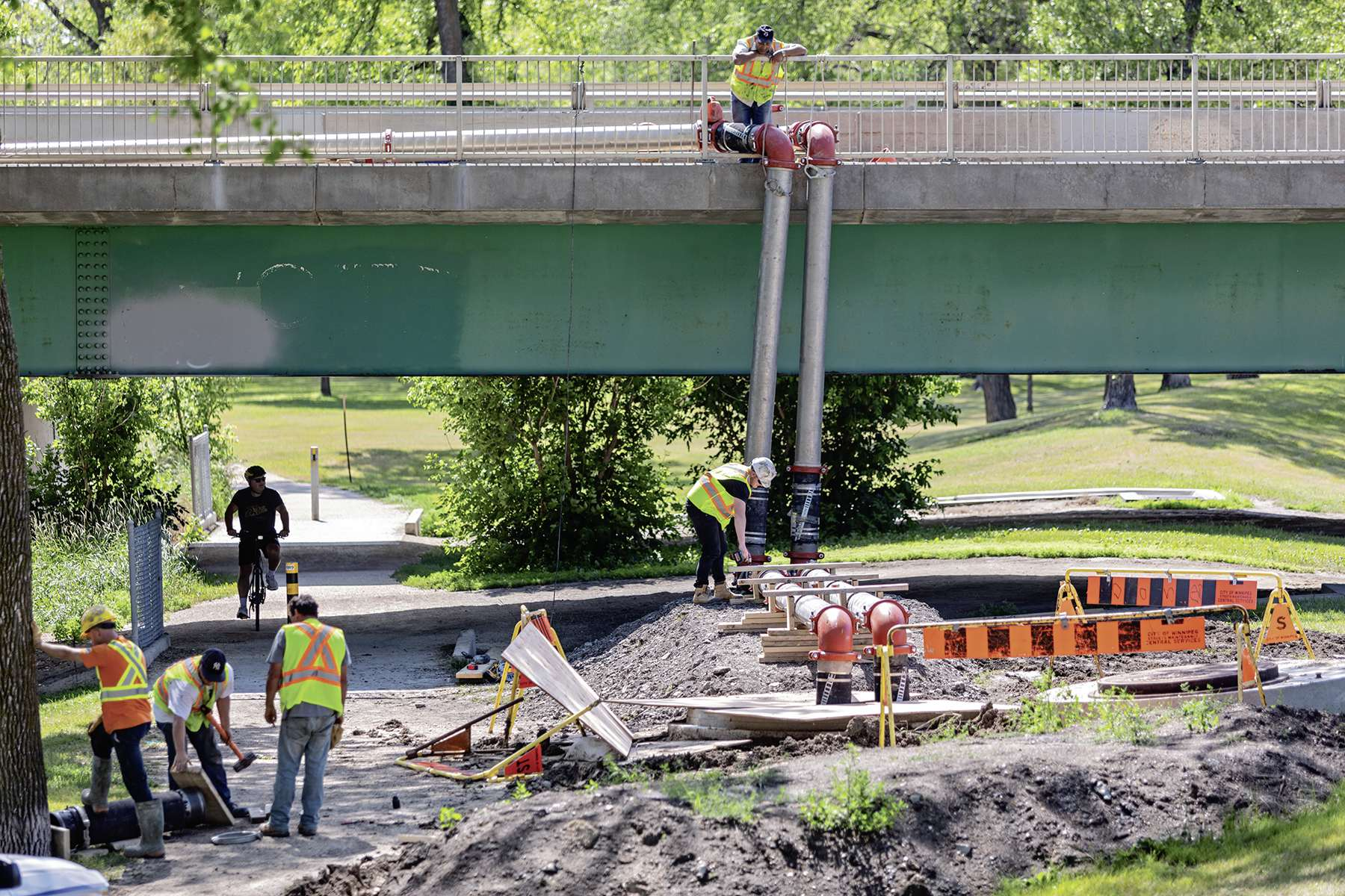 The temporary bypass of the Baltimore main force sewer crossing was constructed and installed in July 2019.