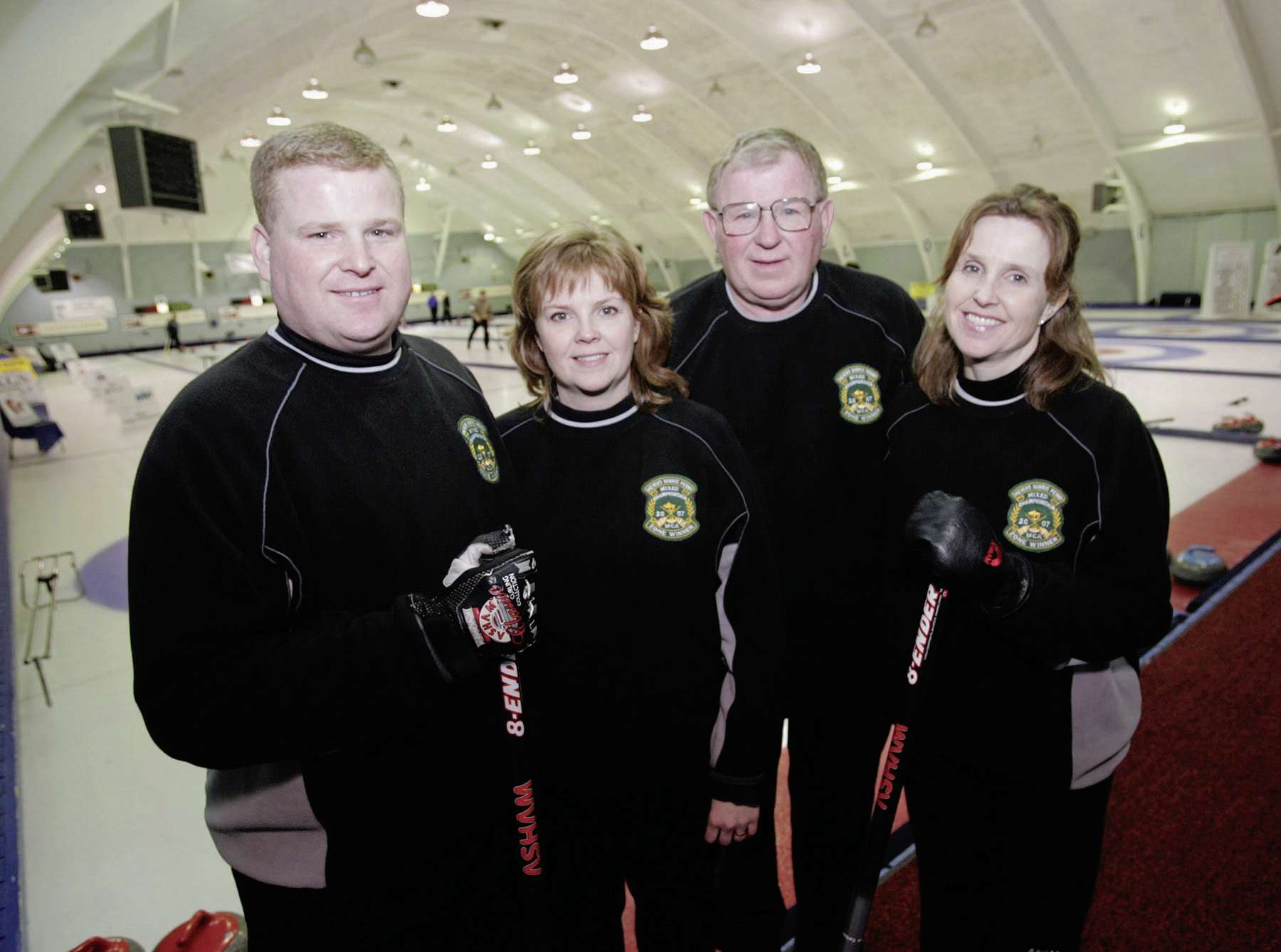 The Kirknesses were perhaps the most successful curling family from St. James-Assiniboia, and often curled in mixed events together. Pictured here in 2007 are (from left) James Kirkness, sister Barb Spencer, father Jim and sister Darcy Robertson.