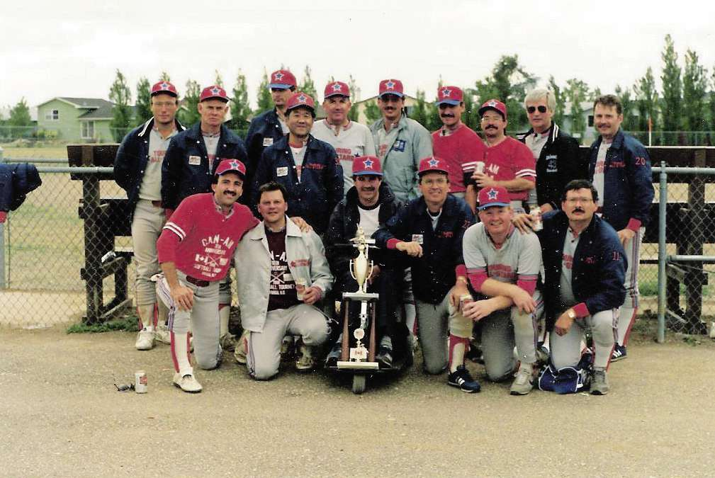 The Touring All-Stars (above) were the top Canadian team in the Old Pro Division of the Can-Am Games slo-pitch tournament several times.