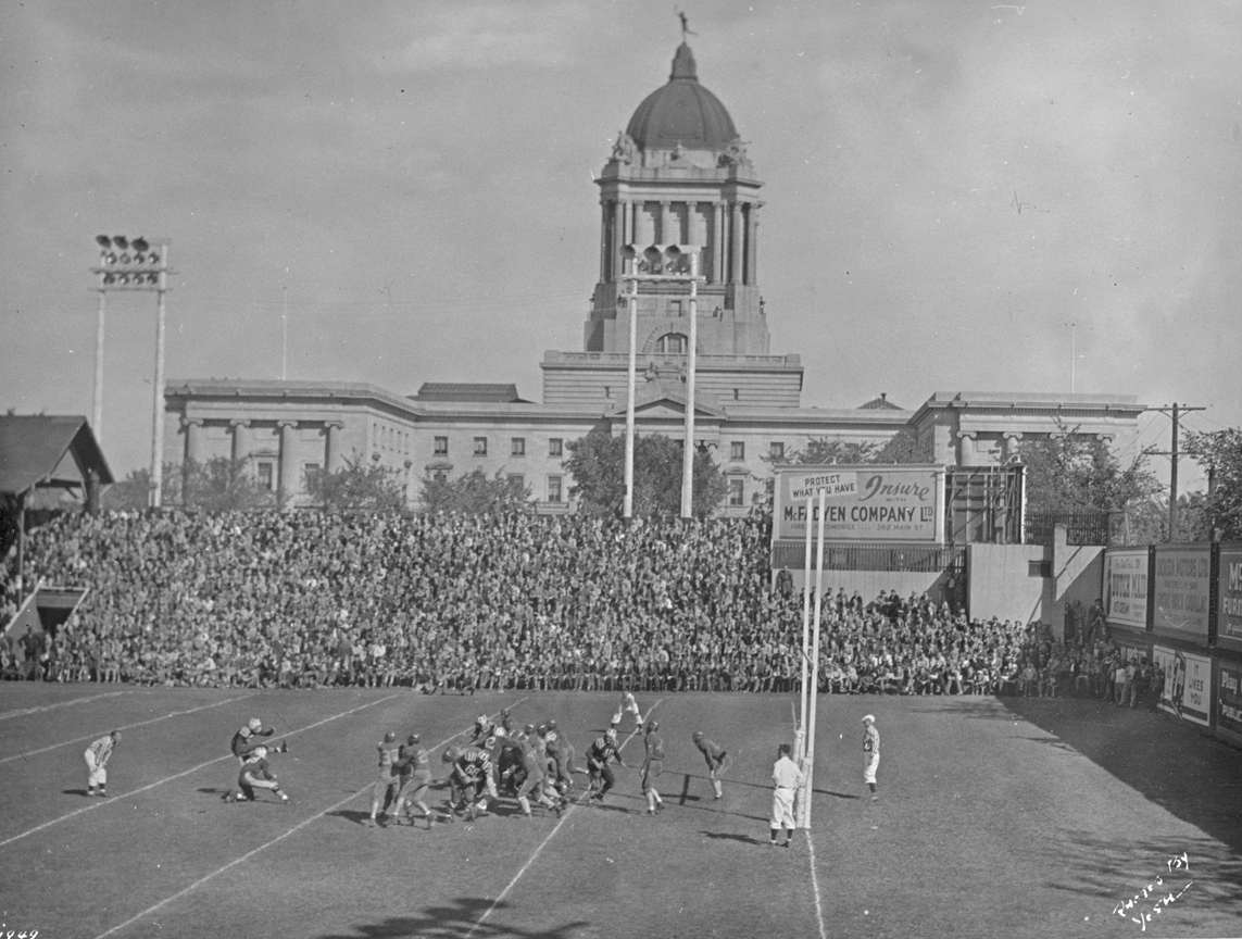 A football game at Osborne Stadium in 1949. The stadium was also used for baseball.