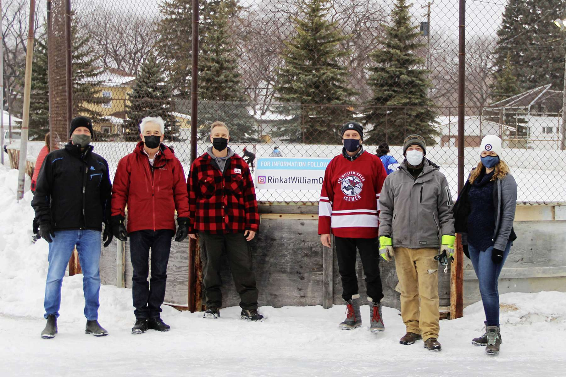 River Heights councillor John Orlikow (far left) is pictured here with some of the volunteers who maintain the community rink at Sir William Osler Park, including Karen Windatt, Greg Mitchell, Jim Hrabiuk, Colin Smith and Tom Hayward.