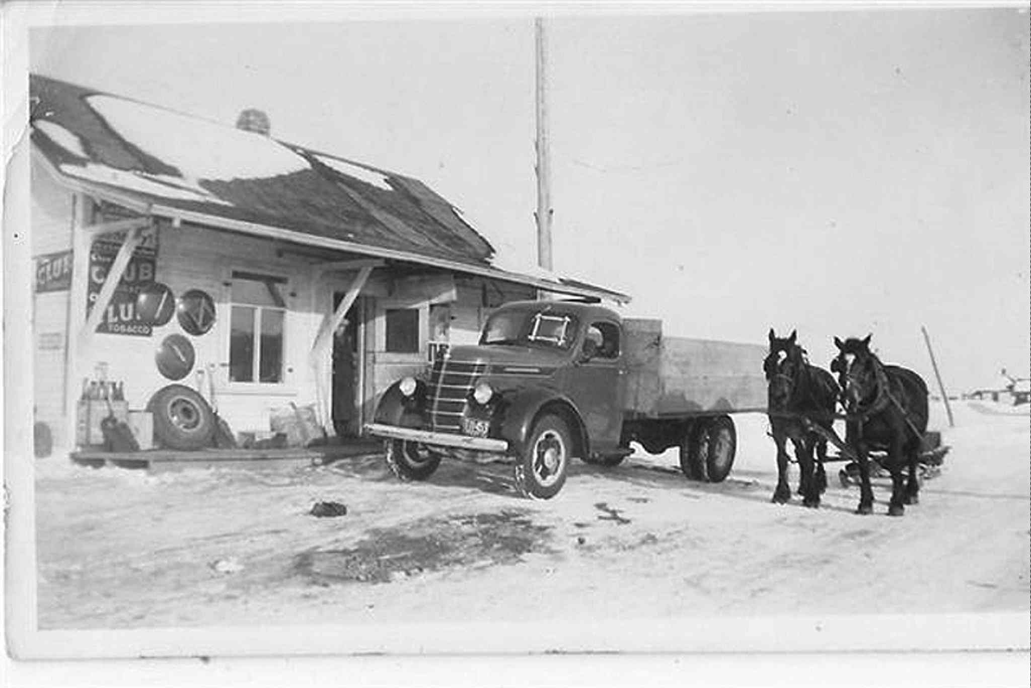 Qually Brothers store in Dacotah, Man. in the early 1940s.