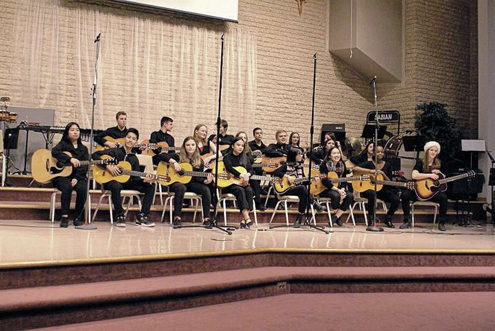 Members of the Miles Macdonell Collegiate's beginning guitar prgram performed at the school's Christmas music program concerts on Dec, 5 and 6 at Covenant Christian Reformed Church.
