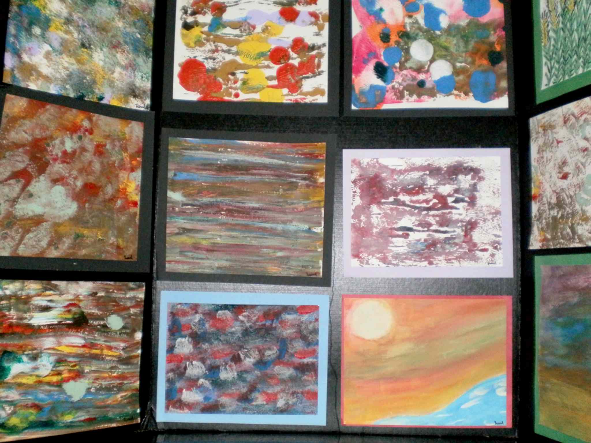 Some of the artwork on display at the Osborne Library, created by Alzheimer's patients who are residents of Actionmarguerite.