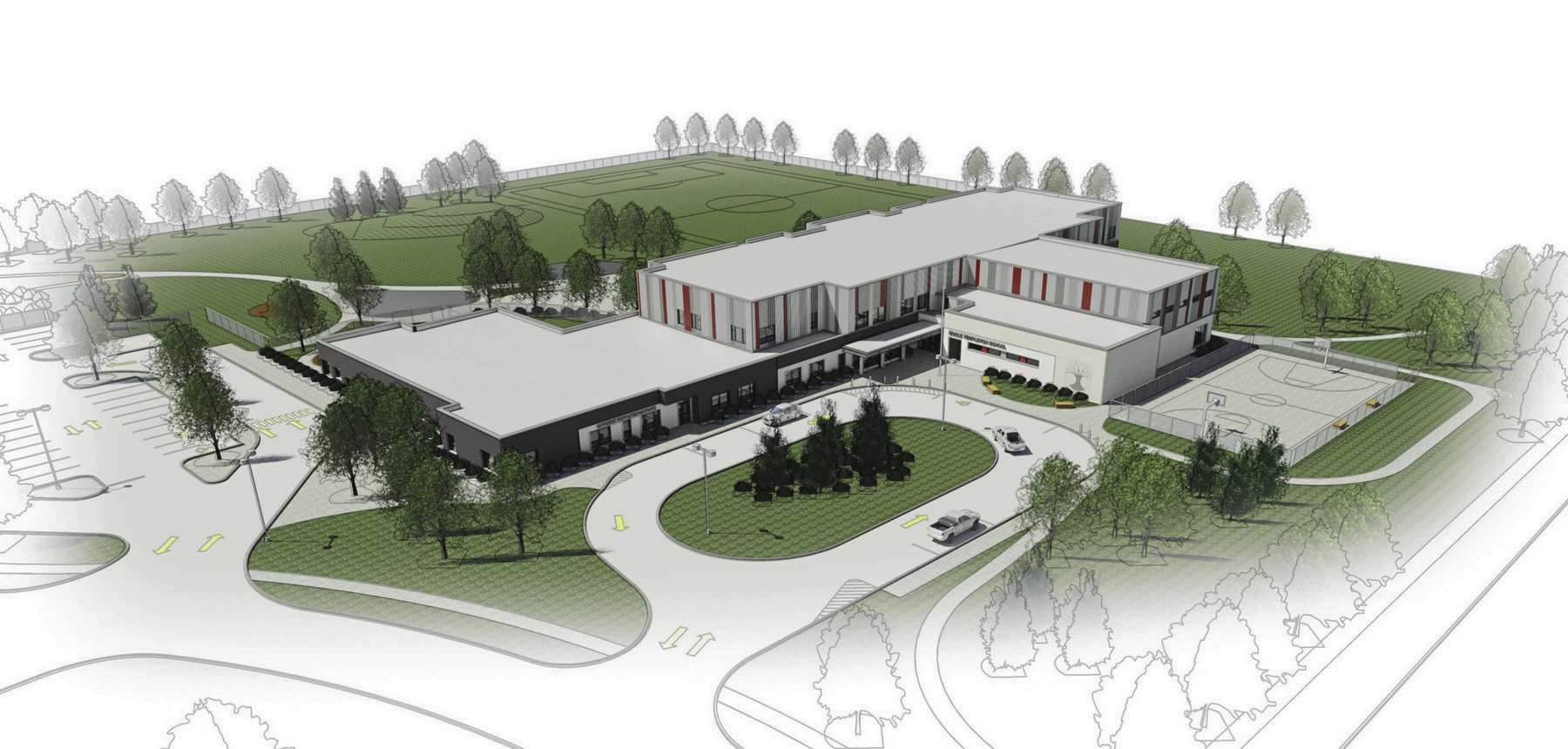 An artist's rendering of the new school being built by the Seven Oaks School Division at 1310 Templeton Ave.