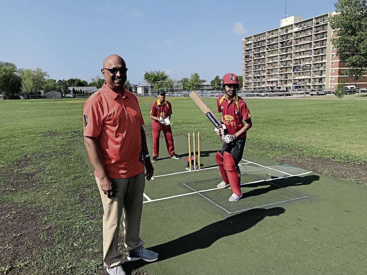 Felix Perera, wicket keeper Gurshan Dhaliwal and batsman Abhishek Kaushik are pictured at the Maples CC cricket ground.