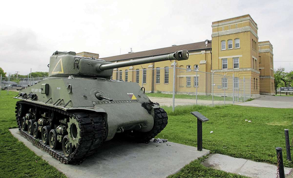 A Sherman M4A tank, once used by the Fort Garry Horse, stands in Martin Park, just north of the McGregor Armoury.