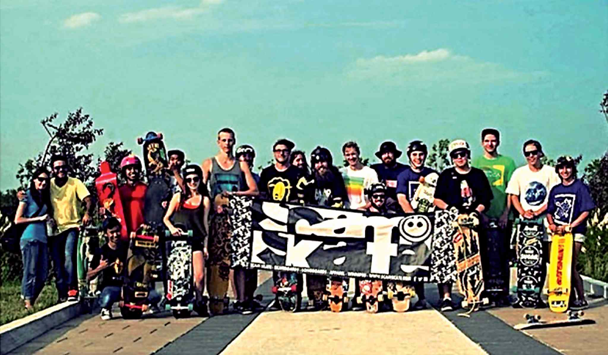 Competitors at the Sugar Point longboarding competition on July 19.