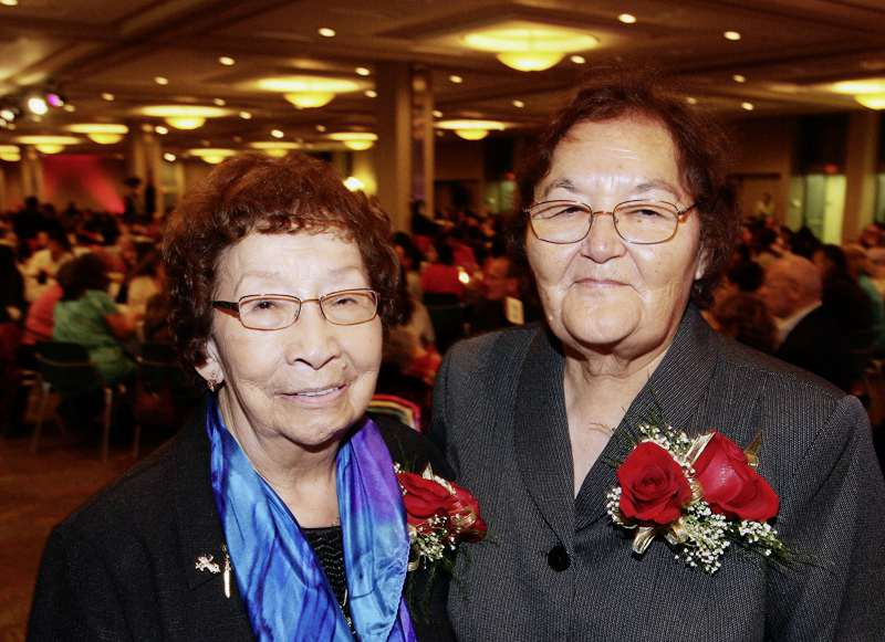 Marion Ironquill Meadmore (right) is pictured with Flora Zaharia in this 2010 photo at an event for Keeping the Fires Burning. Meadmore was recently honoured with a Lifetime Achievement Award by the University of Manitoba.