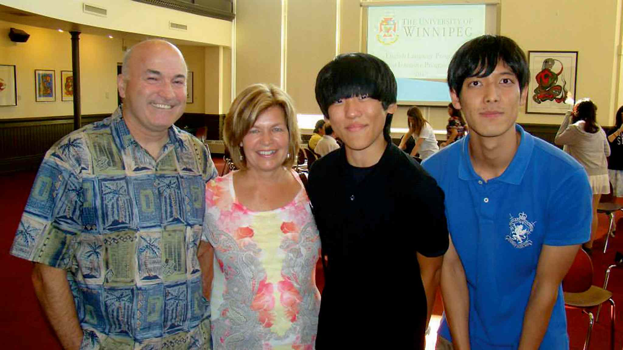 Jeff and Joanne O'Leary with South Korean exchange students Gi Seok Sung and Gi Seong Kim.