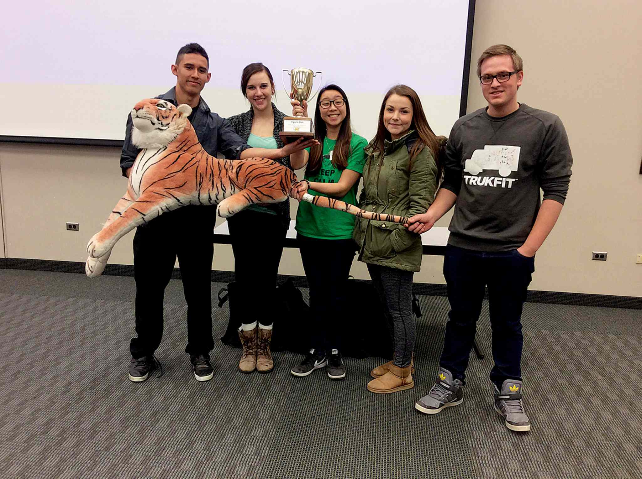 First place winners in Louis Riel School Division's Tiger's Den Entrepreneurship and Innovation conference was True Food, an organic fast food restaurant created by the team of (from left): Jordan Shannon (Windsor Park Collegiate); Stacey Fortney (Windsor Park); Jenny Nguyen (Windsor Park); Michelle Richard (Dakota Collegiate); Evan Duplak (River East Collegiate).