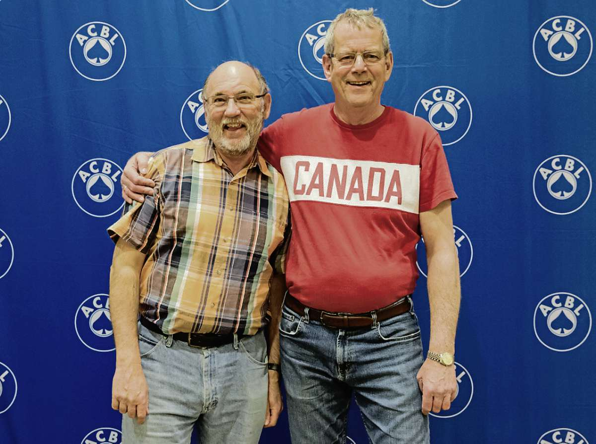 John Hindle (left) and Jeff Gosman recently finished second in their category at a North American Bridge Championship tournament in Kansas City, Mo.