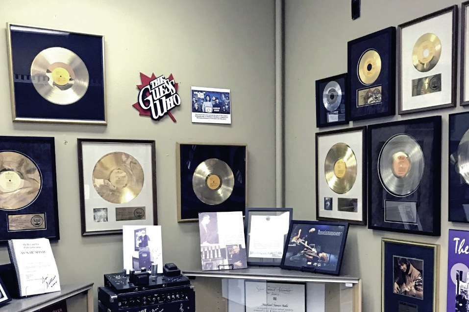 One of the highlights of the St. Vital Museum's  new, refreshed look is an expanded collection of items about St. Vital musicians, including the gold and platinum records of The Guess Who, donated by Jim Kale, who grew up on Clonard Avenue.