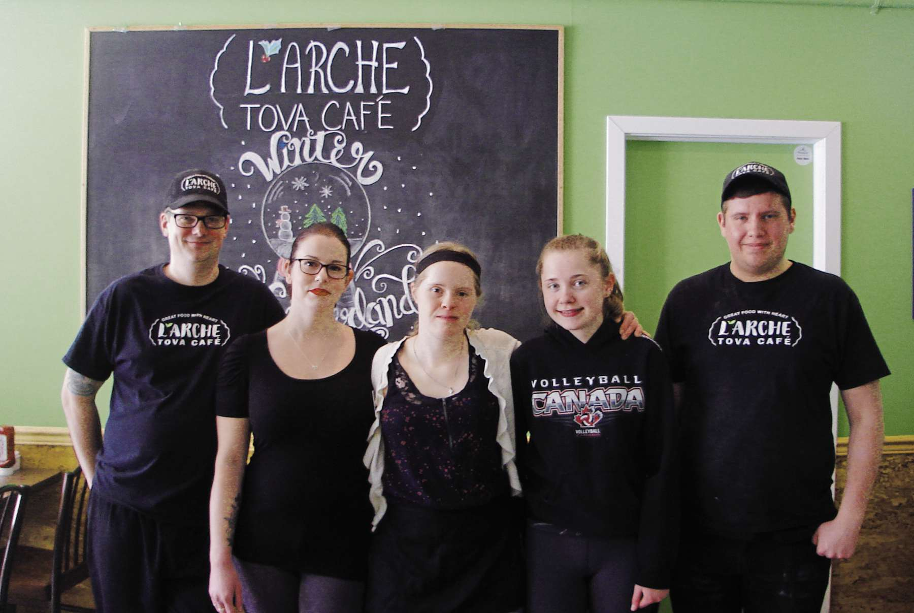 Rob, Carley, Stacey, Sara and Nolan are staff members at L'Arche Tova Café.