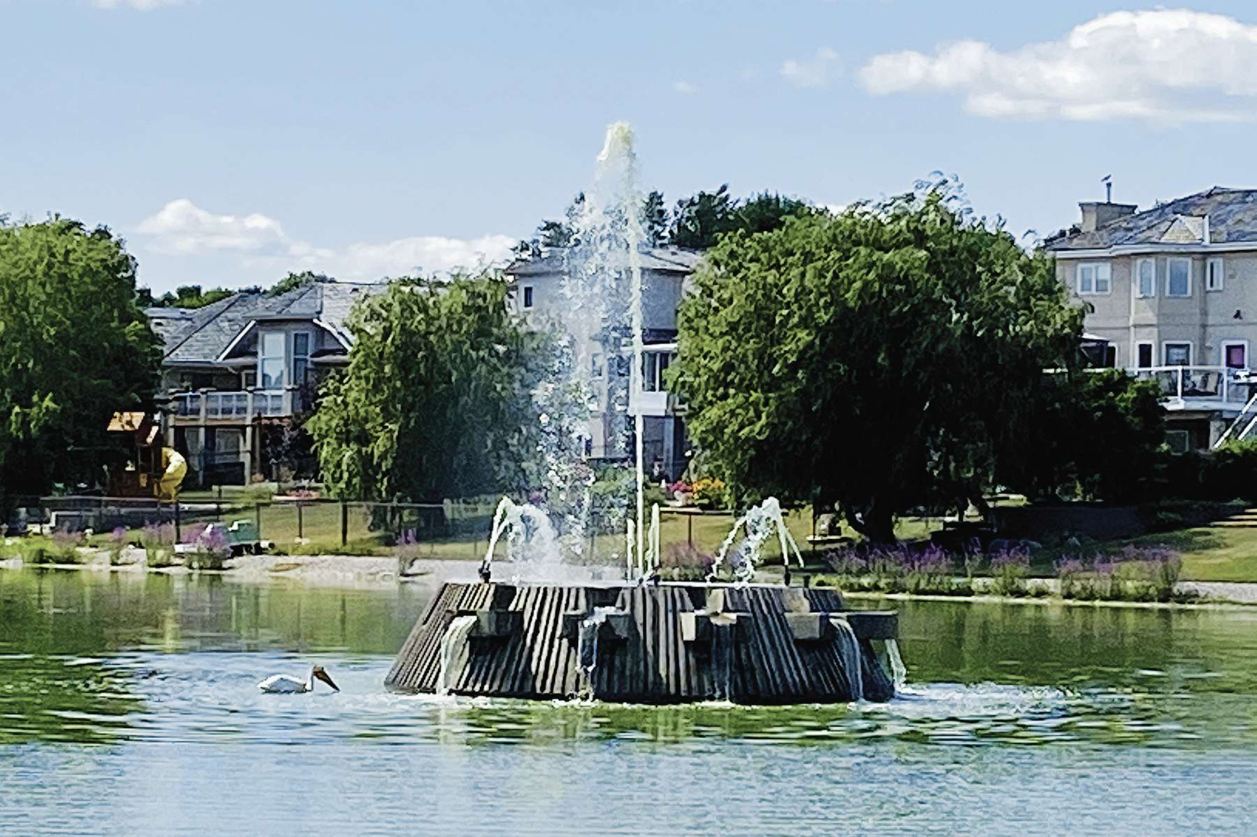 Whyte Ridge residents were successful in their efforts to get fountains running again in the area's retention ponds.