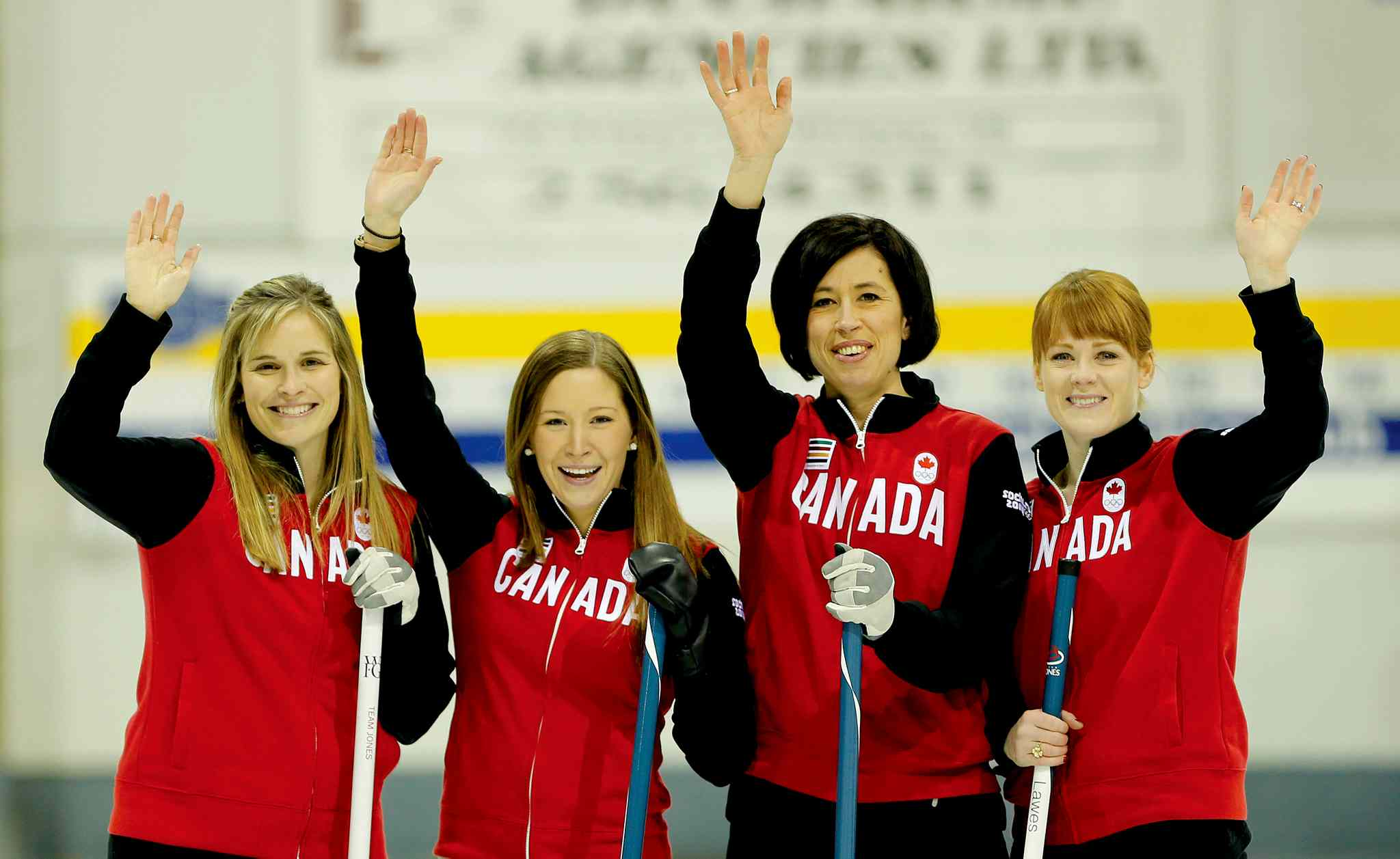 The Canadian Women's Curling team's Jennifer Jones, Kaitlyn Lawes, Jill Officer and Dawn McEwen.