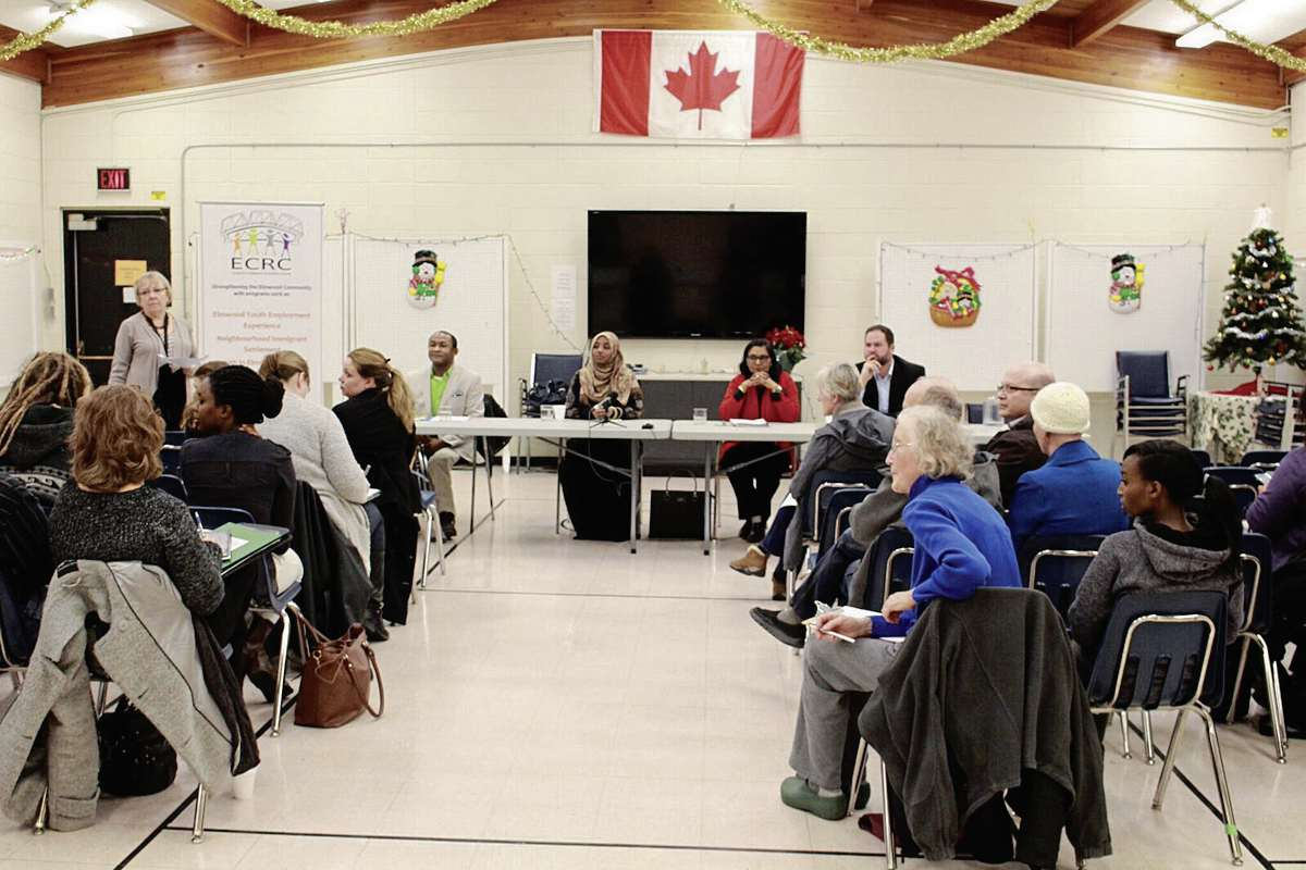 The Elmwood community discussed ways to welcome refugees to Winnipeg at a Cross Cultural Awareness Forum on Dec. 7.