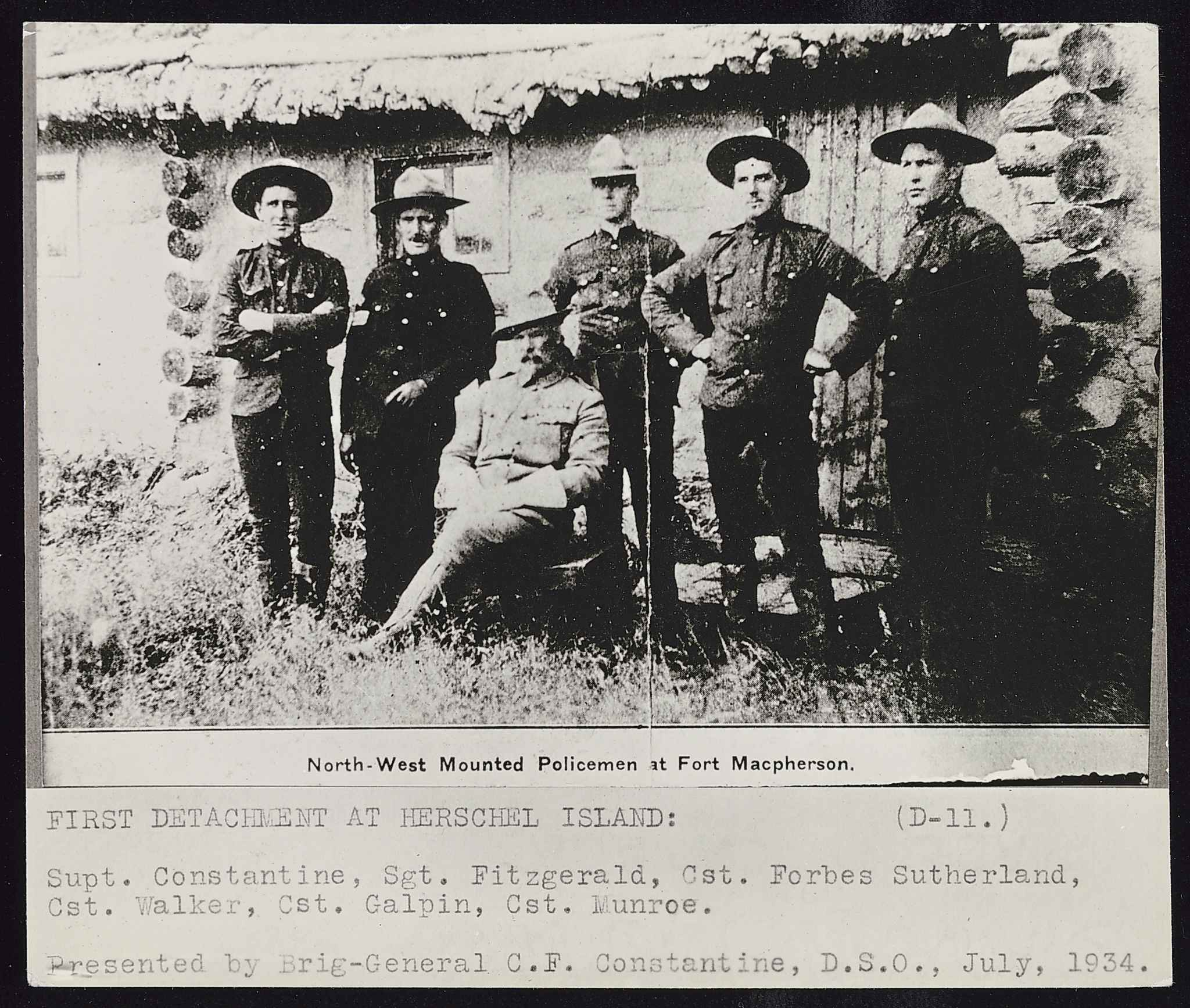 The establishment of the North-West Mounted Police, shown at Fort McPherson, helped enable prime minister John A. Macdonald to fill the West with white settlers. (Library and Archives Canada)
