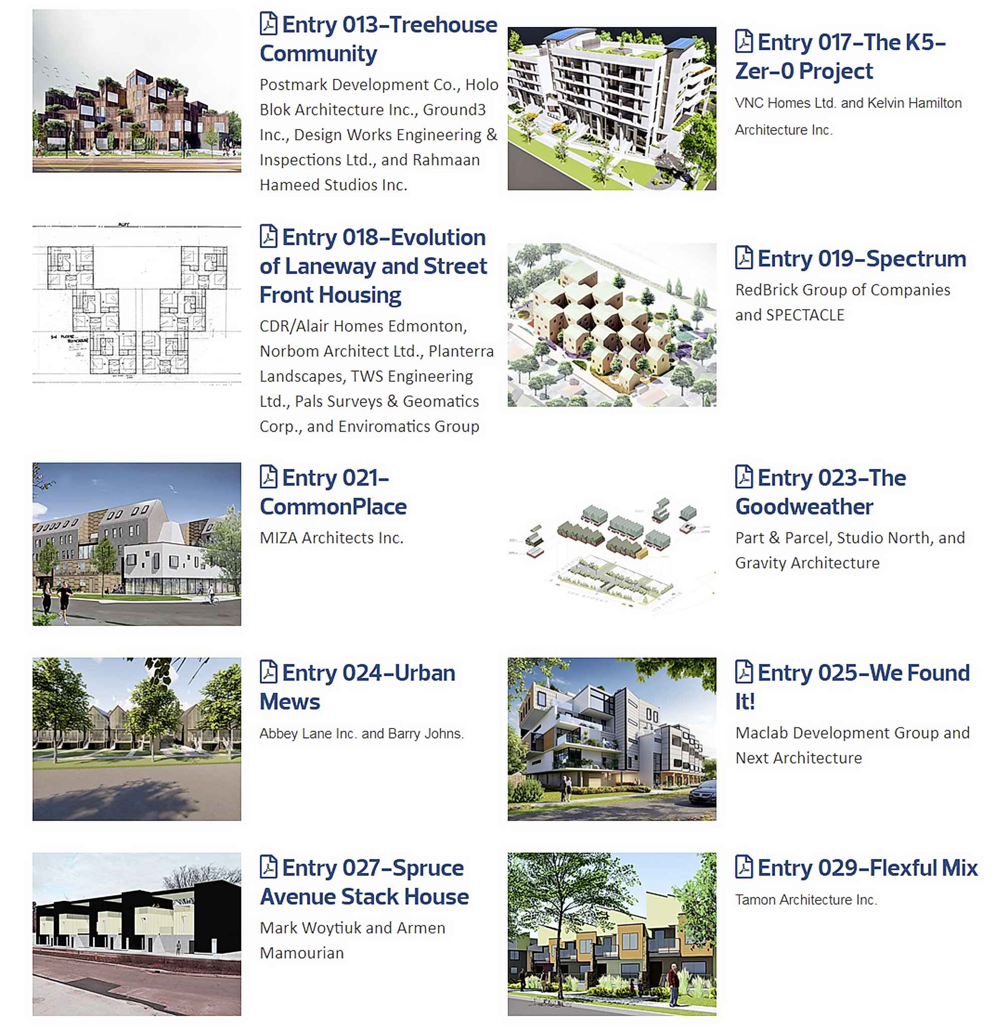 Some of the entries in an infill design competition in Edmonton.