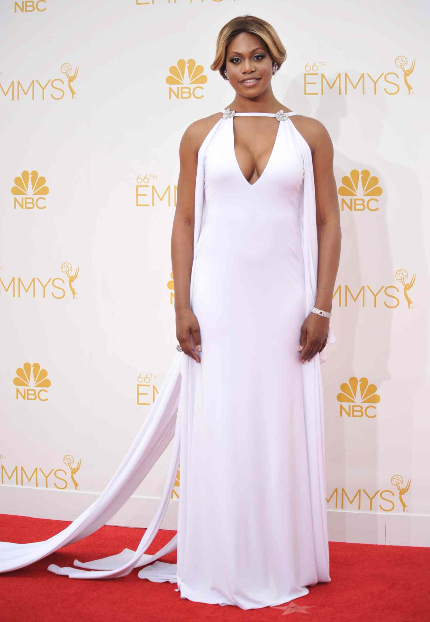 Laverne Cox (Orange Is the New Black) arrives at the 66th Annual Primetime Emmy Awards at the Nokia Theatre L.A. Live Monday.