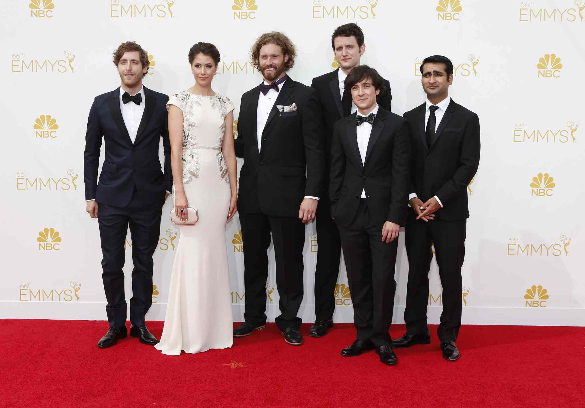 The cast of HBO's Silicon Valley arrives for the 66th Annual Primetime Emmy Awards at Nokia Theatre at L.A. Live in Los Angeles.