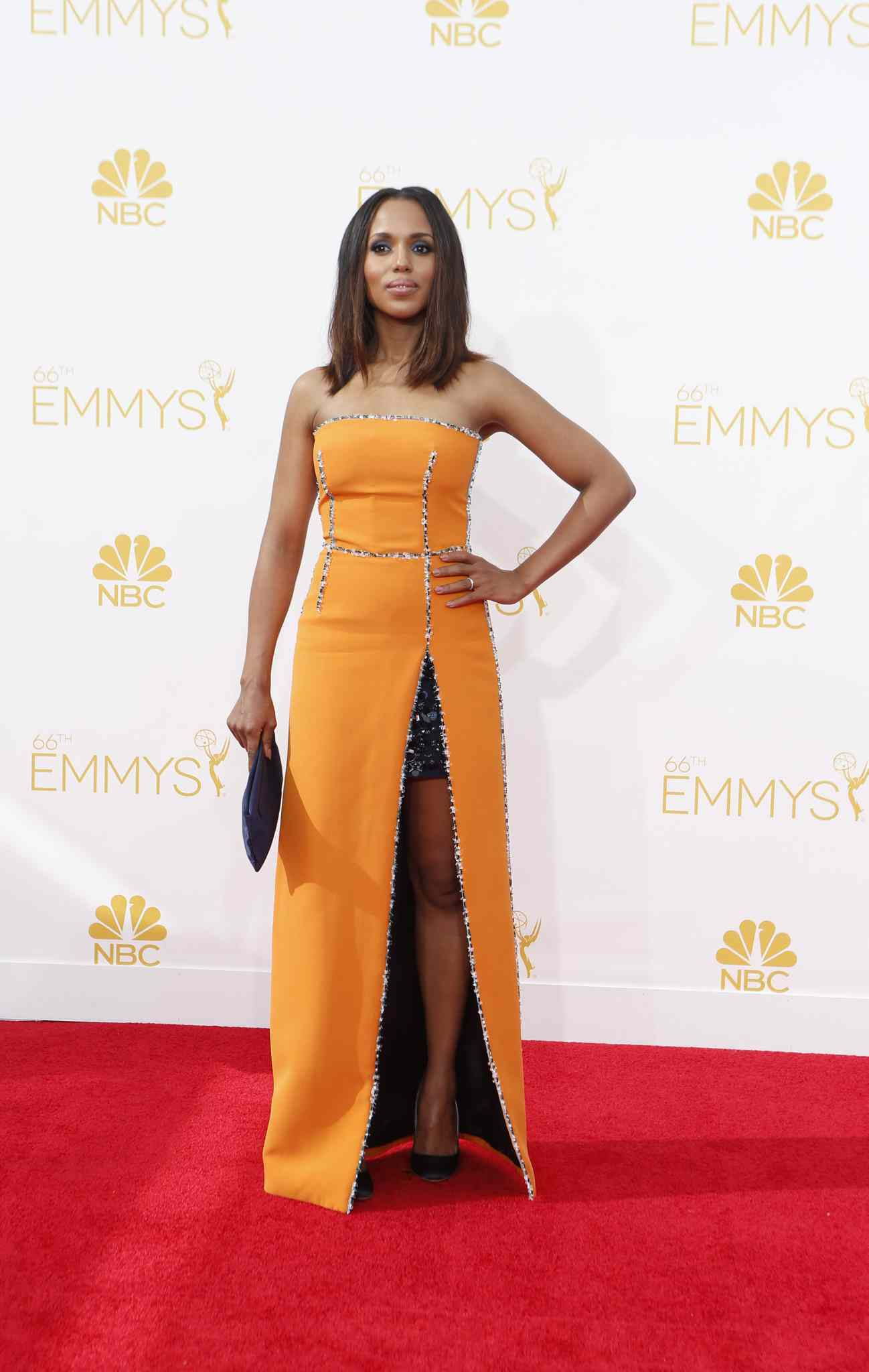 Kerry Washington (Scandal) arrives for the 66th Annual Primetime Emmy Awards at Nokia Theatre at L.A. Live in Los Angeles.