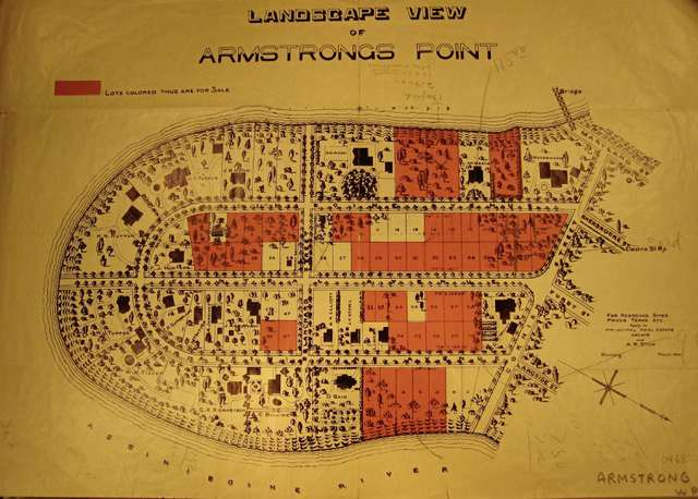 This 1906 map of Armstrong's Point shows lots for sale in the neighbourhood.