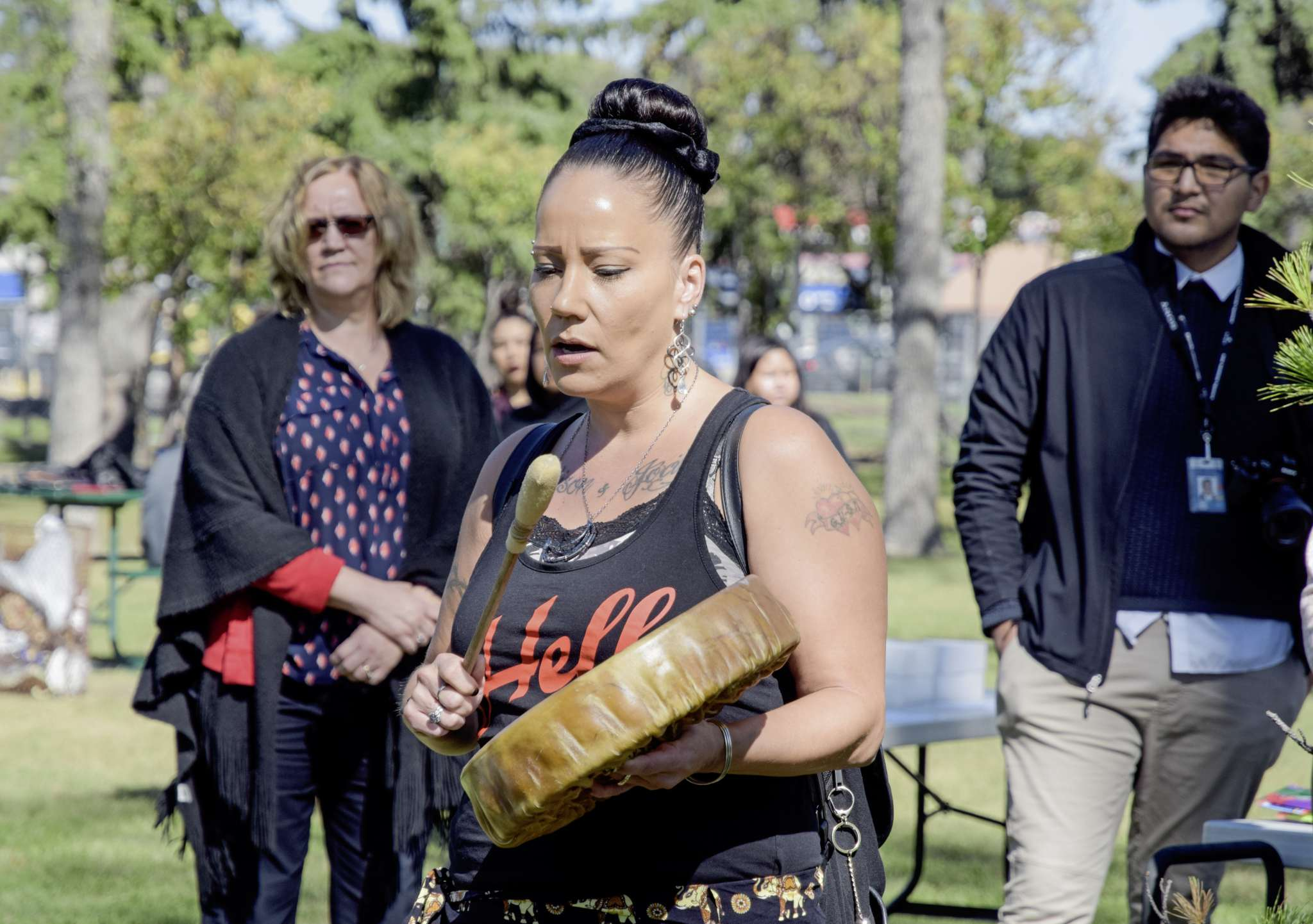 Sherry Nolin of Klinic's Dream Catchers drum group performs during a World Suicide Prevention Day event at Vimy Ridge Memorial Park on Sept. 10.