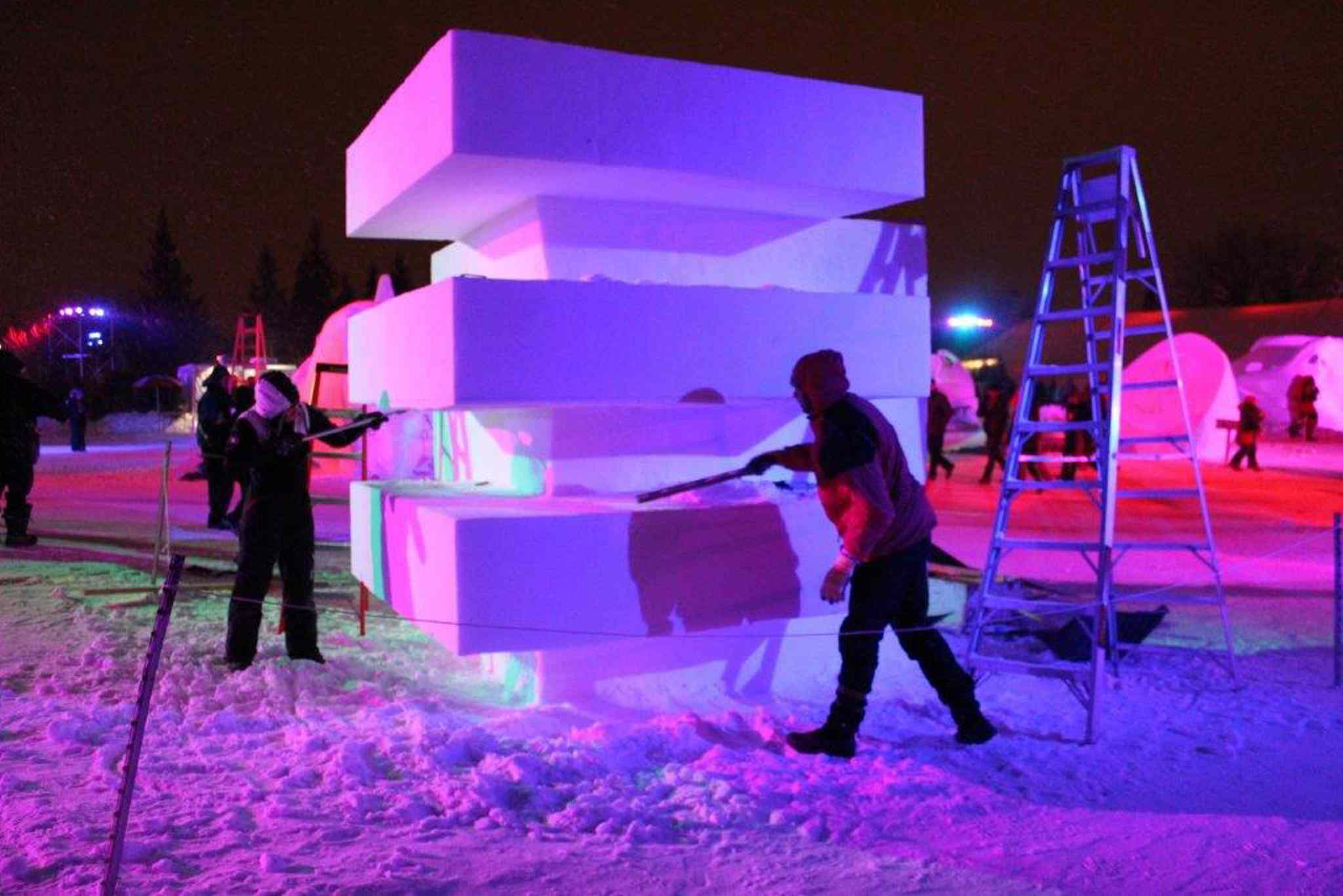 Snow sculpters at work.