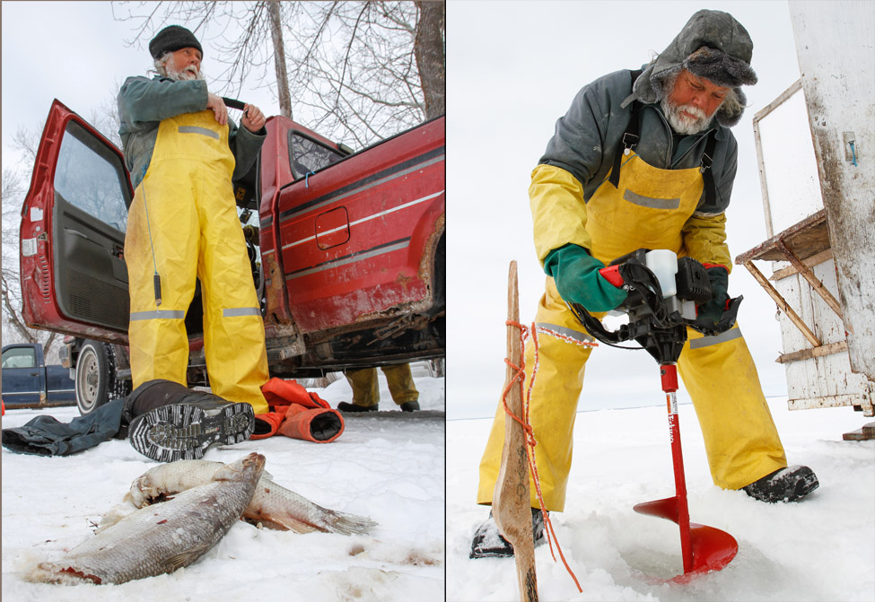 In this diptic, Frank Kenyon is shown preparing to go out on the ice for the day to fish, with bycatch lying about his lake side propery. ANd On the right he cuts a hole with an auger into the ice of Lake Manitoba. . (Jessica Burtnick / Winnipeg Free Press)