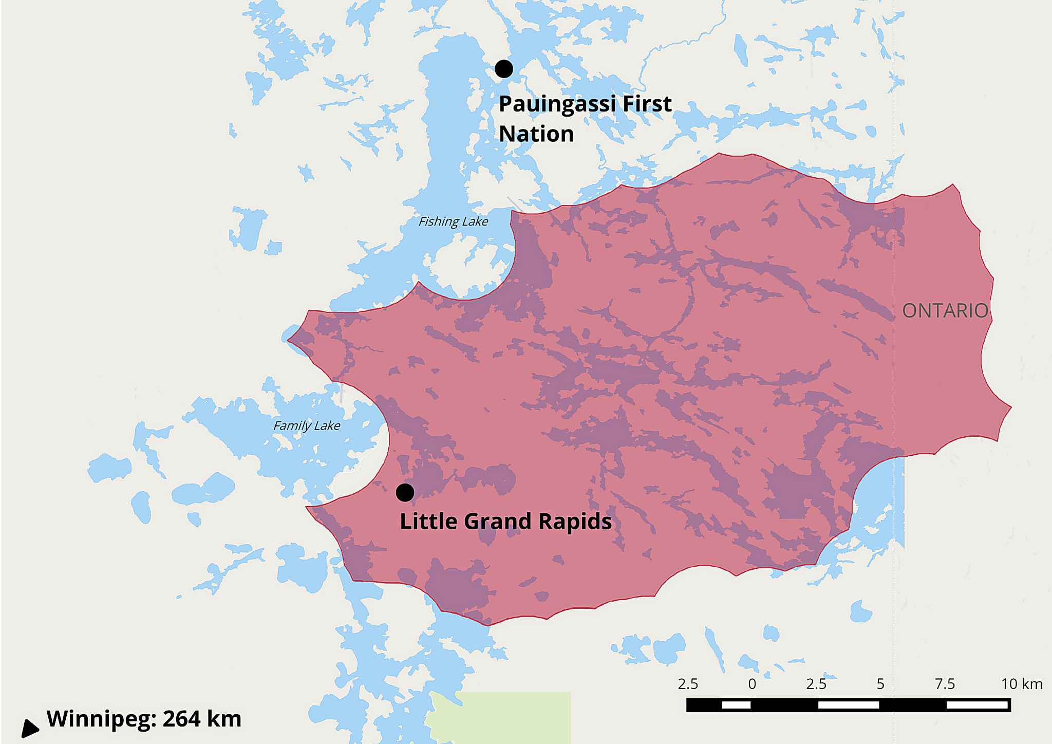 This map shows the size of the estimated fire perimeter as of May 24 near the two evacuated communities.
