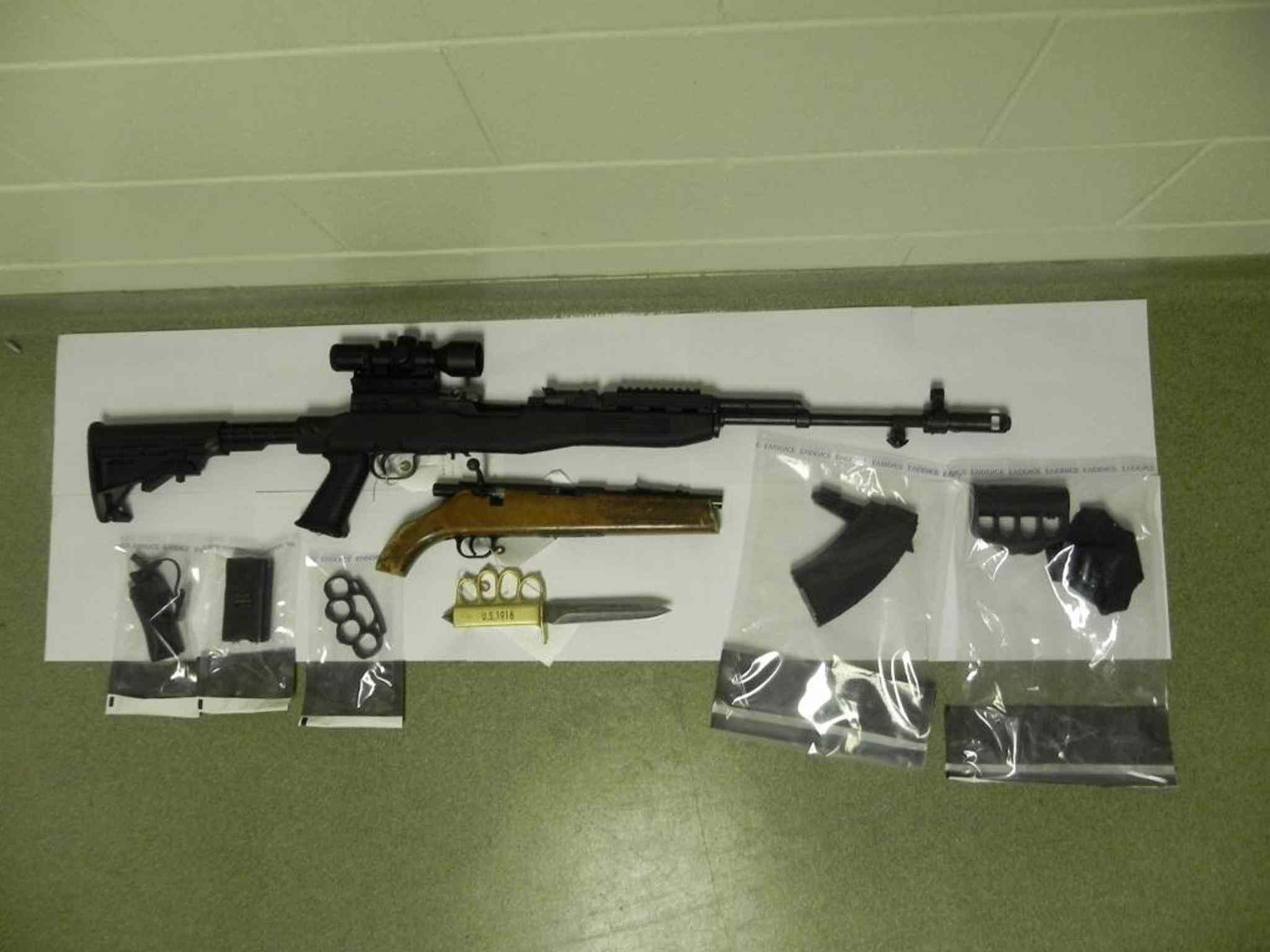 Some firearms seized during the raid of a house in the RM of Lac du Bonnet.