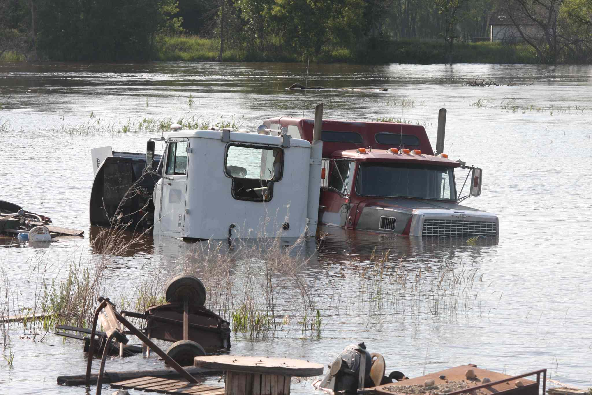 A pair of scrap trucks sit in the deep waters of the Souris River in Melita Friday.