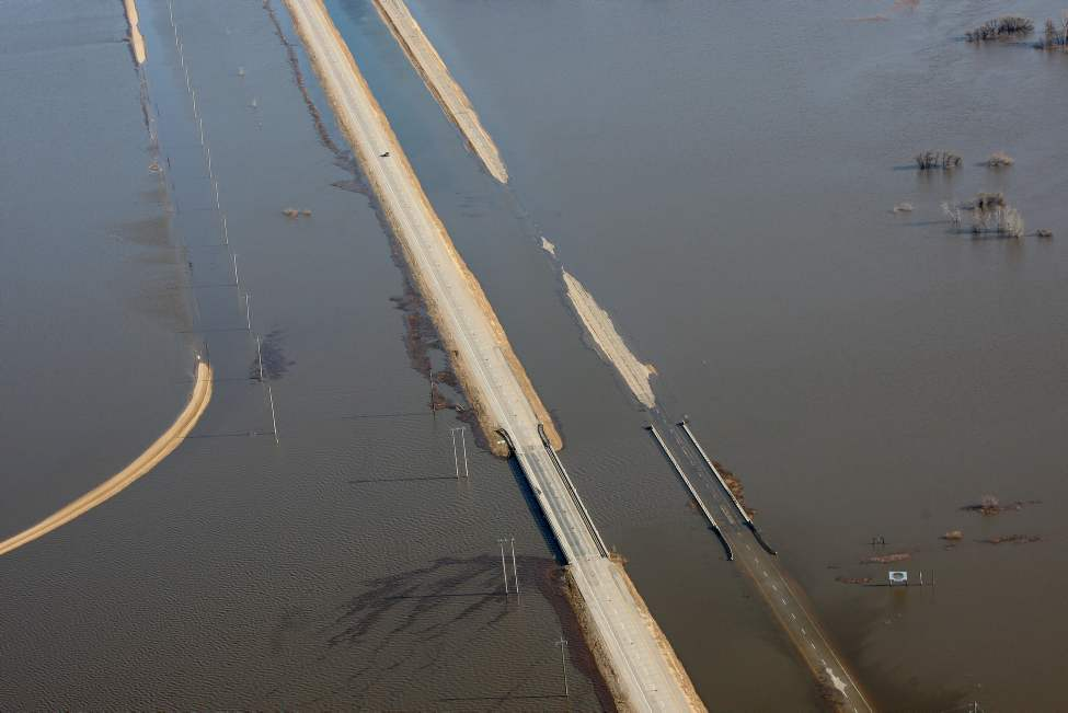 St Jean Baptiste - Portions of Hwy 75 are now under water because of high flood waters from the Red River Wednesday morning
