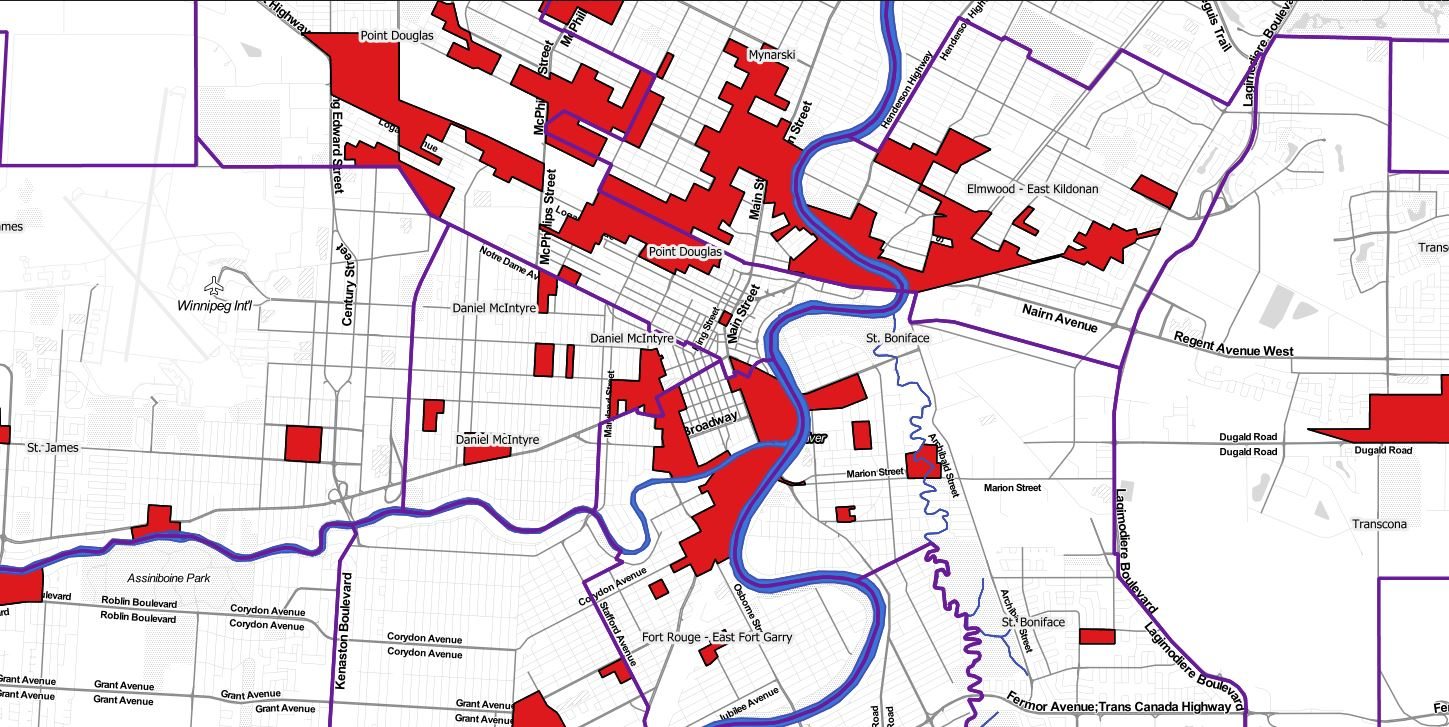 This map from the Winnipeg Food Atlas shows neighbourhood food deserts - low-income areas more than 500 metres from a national chain grocery store.