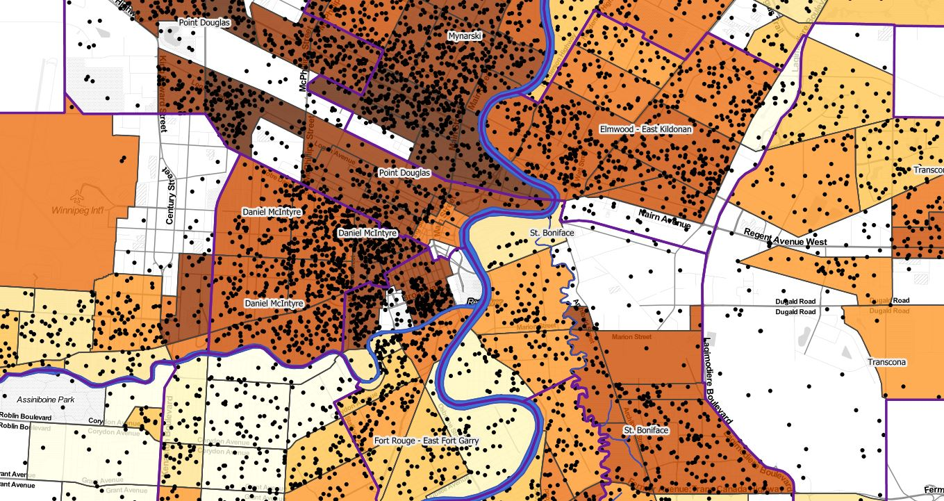 This map from Winnipeg's Food Atlas shows diabetes cases in people aged 35 to 49 (black dots) and estimated diabetes rates for neighbourhoods, ranging from less than 5 (white) to 12 per 100 people (darkest brown).