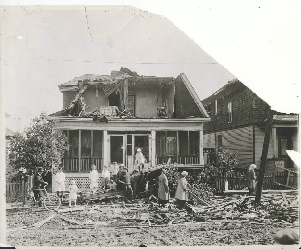 L. B. Foote / Winnipeg Free Press Archives Winnipeg was subject to a devastating wind storm on June 17, 1919.  House somewhat dilapidated - Front view of 575 and 577 (Freedman's houses) Magnus Street. (Winnipeg Free Press)