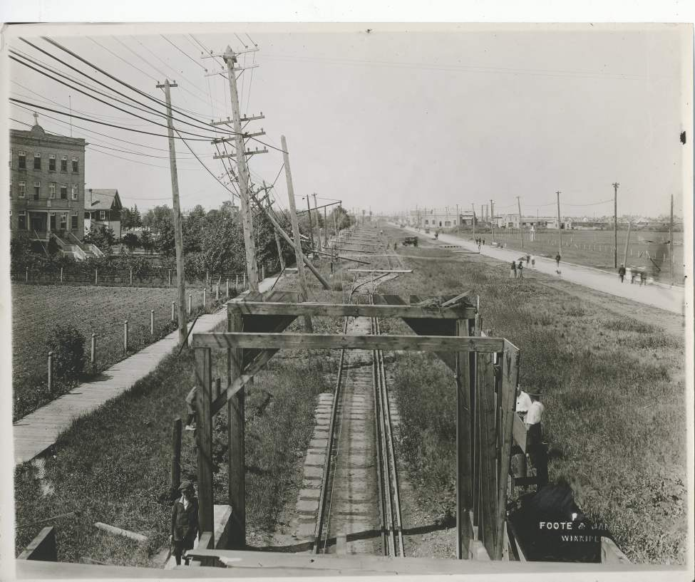 L. B. Foote / Winnipeg Free Press Archives Winnipeg was subject to a devastating wind storm on June 17, 1919. Looking west from street railway Subway on Portage Avenue. All power, electrical poles and trolley wires down from Subway west to C.N.R. tracks. (Winnipeg Free Press)