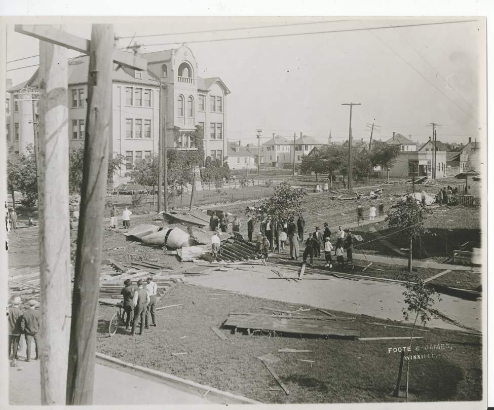 L. B. Foote / Winnipeg Free Press Archives Winnipeg was subject to a devastating wind storm on June 17, 1919.  Shows the accumulated debris in front of Strathcona School, looking northwest.  (Winnipeg Free Press)