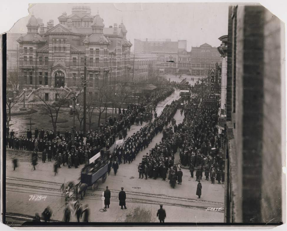 L. B. Foote / Winnipeg Free Press Archives City Hall, April 4, 1921  Unemployed march through city -  Approximately four hundred took part in the unemployed parade through the Winnipeg streets on Saturday afternoon. The parade where a mass meeting had been held earlier in the afternoon, it being addressed by several of the Winnipeg labour leaders.