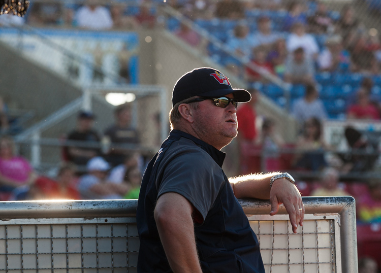 Manager Rick Forney during the Saturday game at Lewis and Clark stadium in Sioux City.