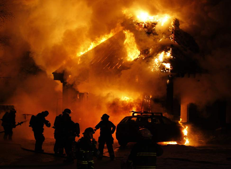 A fire that originated in an attached garage destroyed a large two-story home in the 120 block of Shoreline Drive in Lindenwoods.