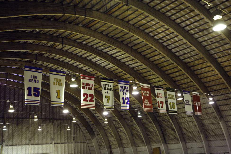 Banners hang to honour former players at the J.P. Bend Memorial Arena in Poplar Point. Organizers are preparing 100 Years of Hockey Celebration. January 31, 2013