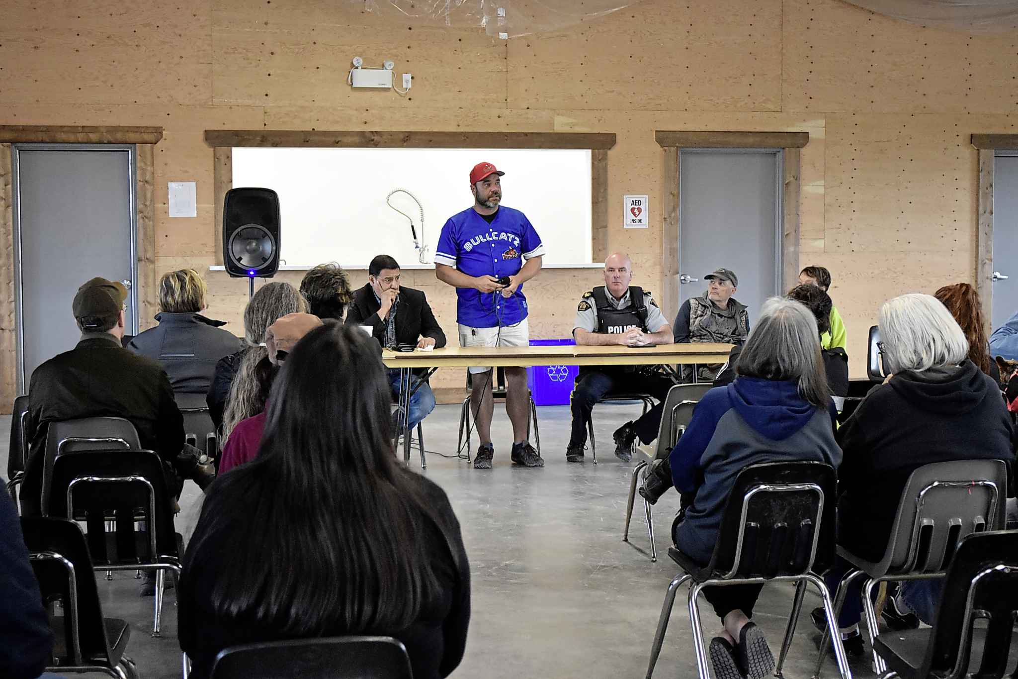 Gillam Mayor Dwayne Forman speaks at a town meeting Wednesday evening after RCMP discovered remains they believe are those of Kam McLeod and Bryer Schmegelsky.