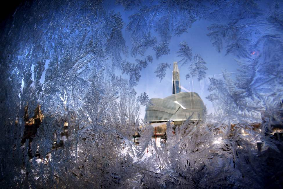 The Canadian Museum for Human Rights at The Forks as seen through the frosted windows on The Forks parkade.