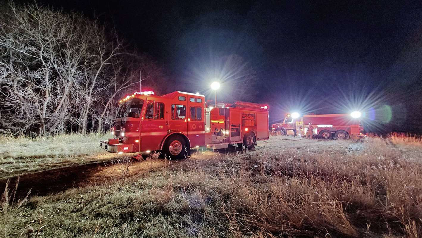 When Cartier's fire department turns its trucks' lights on, people using the Waze app will automatically get an alert if they're near the trucks. Pictured, the department responding to a call on March 21. (SUPPLIED)